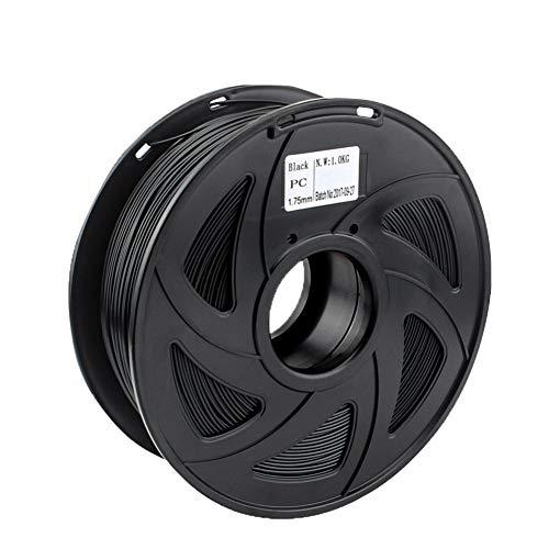 Auartmetion 1pc 1.75/3mm Premium PC Filament For 3D Printer Polycarbonate Filament Strong Thermoplastic Temperature-Resistance (Size : 1KG 1.75mm black)