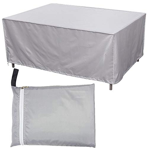 ZMYY Table Covers with Drawstring and Storage Bag Waterproof Anti UV All Weather Protection Rectangular Outdoor Patio Furniture Covers Multiple Size (242x162x100cm)