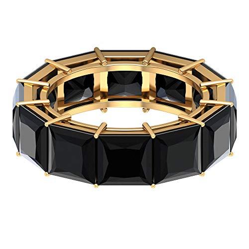 Anillo de eternidad de corte princesa, delicado anillo de boda, 11,7 ct 6 mm, anillo de espinela negra, anillo de dama de honor, anillo de aniversario, anillo de mujer, 14K Oro amarillo, Size:EU 59