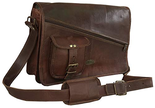 "Leather Messenger Bags for Men Women Mens Briefcase Laptop Bag Best Computer Shoulder Satchel School Distressed Bag (11"" X 15"")"