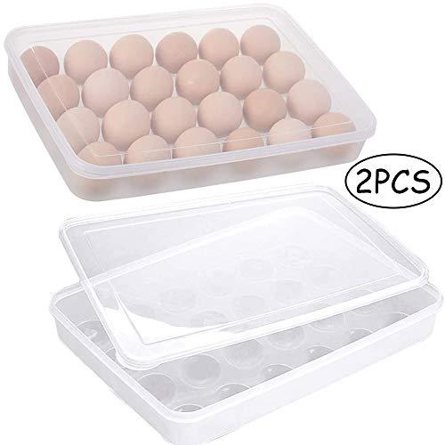 Deer Platz 2 Stück Eier Behälter, KühlSchrank Eier Behälter mit Deckel, Eierbehälter aus Kunststoff, Tragbare Ei Aufbewahrungsbox, Stapelbar Ei Halter, 24 Eier