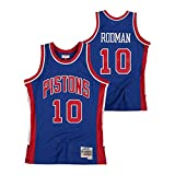 LDFN Jersey Baloncesto Baloncesto Jersey, Detroit Pistons # 10 Dennis Rodman Hardwood Classics Carretera Alero-Trikot - Helen S-XXL (Color : Blue, Size : XL)