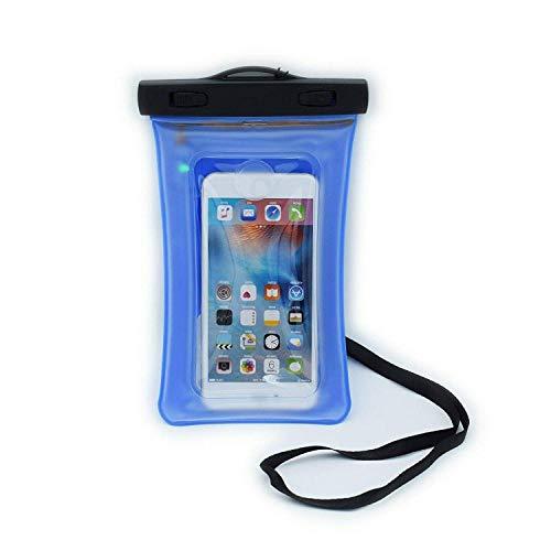 Impermeable IPX8 Flotante Teléfono Bolsa Seca Funda & Agua Detección Fuga Sensor Compatible con Otro Teléfono hasta 6.5' Perfecto para Playa, Senderismo, Viaje para Samsung Galaxy Note 9 - (Azul)