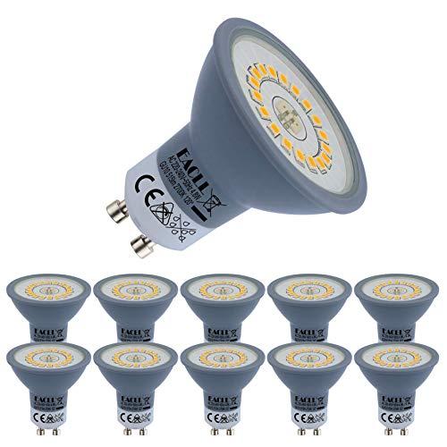 EACLL Bombillas LED GU10 2700K Blanca Cálida 4.8W Fuente de Luz 515 Lúmenes Equivalente 50W Halógena Lámpara. AC 230V Sin Parpadeo Focos, 120 ° Blanco Cálido Reflectoras Spotlight, 10 Pack