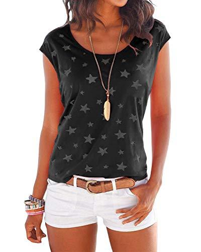 YOINS T-Shirt Damen Shirt Oberteile Sexy Oberteil für Damen Tops Sommer Einfarbig Ärmellos Rundhals mit Sterne Neu-Schwarz M