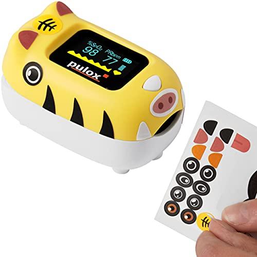 pulox PO-230 Kinderpulsoximeter Pulsoximeter für Kinder in Gelb mit Klebemuster