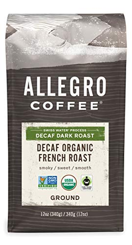 Allegro Coffee Decaf Organic French Roast Ground Coffee, 12 oz (Pack of 1)