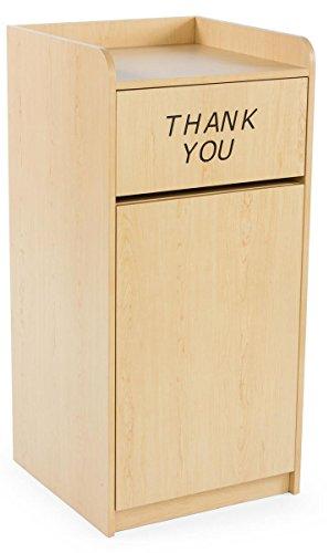 "Restaurant Trash Can, Hinged Door, 36 Gallon, Tray Holder,""Thank You"" Message (Melamine)"