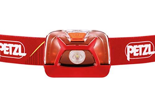PETZL Tikkina Unisex Head Torch - Red, 250 Lumen/Wearable Headlamp Run Walk Hike Bright Beam LED Winter Lamp Sport Cycling Outdoor Emergency Safety Headband Camping Mountaineering Fishing Light