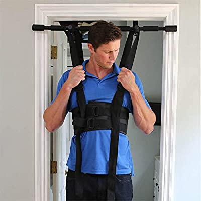 Sit and Decompress - The Ultimate Back Stretcher / Lumbar Traction - Increase your disc space by 20% instantly while in use. (Large Harness With Chin Up Bar)