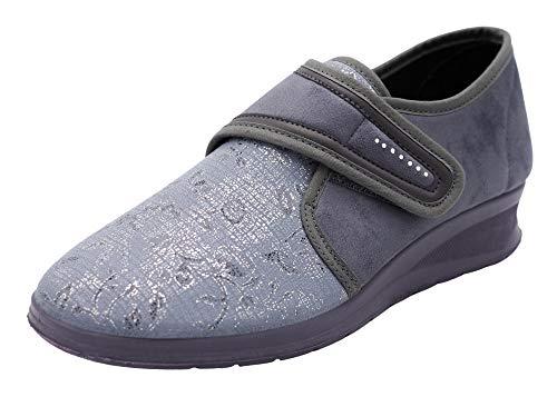 Aerosoft Scarpe da donna elasticizzate in velcro, senza pressione, per piedi sensibili, adatte all'alluce valgo, materiale interno: Dermatest molto buono, Grigio (grigio.), 40 EU