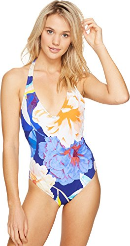 Echo Design Women's Floral Low-v Back One Piece Swimsuit, Brilliant Blue, 12