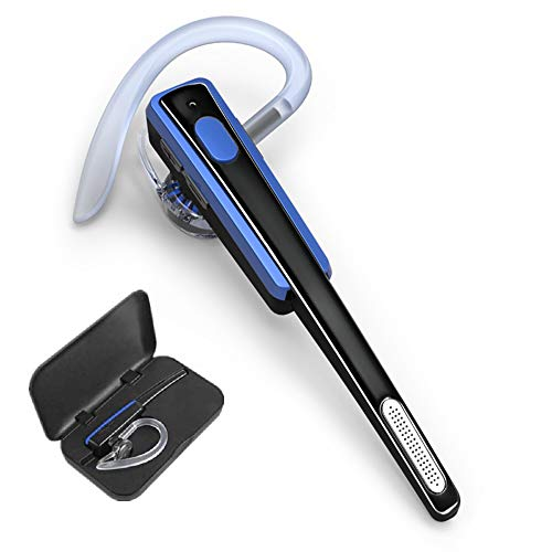 Bluetooth Headset, COMEXION Wireless Business Earpiece V4.1 Lightweight Noisy Suppression Bluetooth Earphone with Microphone for Phone/Laptop/Car(Blue+Case)