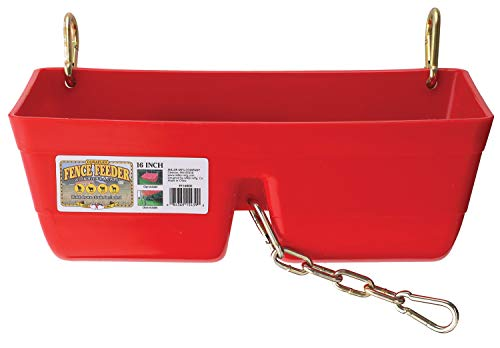 Little Giant Plastic Fence Feeder with Clips (Red) Heavy Duty Mountable Feed Trough Bucket for Livestock & Pets (9 Quart) (Item No. FF16RED)