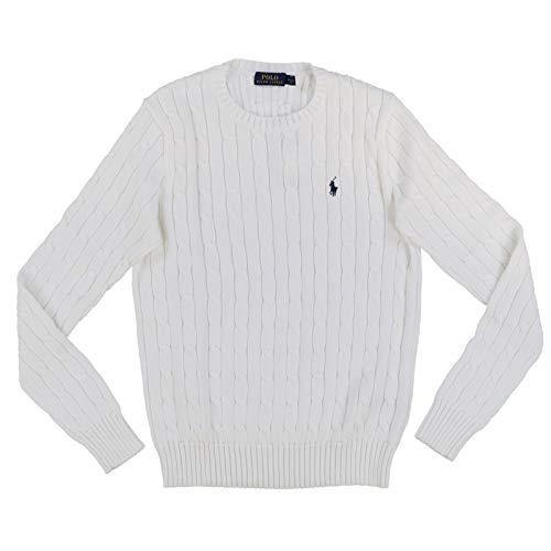 Ralph Lauren Polo Womens Cable Knit Crew Neck Sweater (Medium, Bright White)