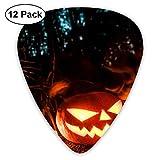 Halloween Pumpkin Terror Forest Night Púas de guitarra Púas de guitarra acústica Ukulele Picks, paquete de 12