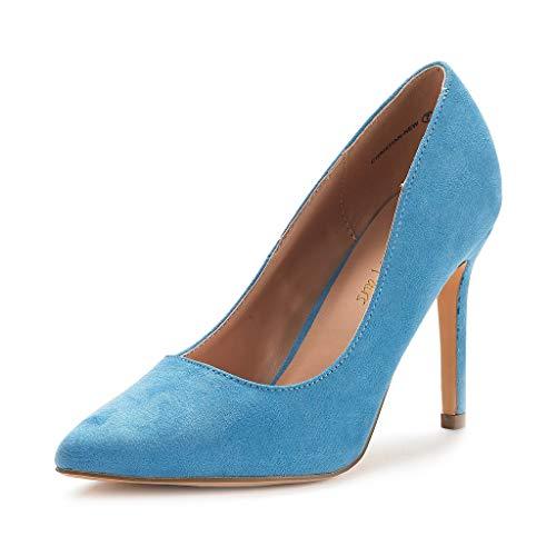 DREAM PAIRS Women's Blue Suede High Heel Pump Shoes - 8 M US