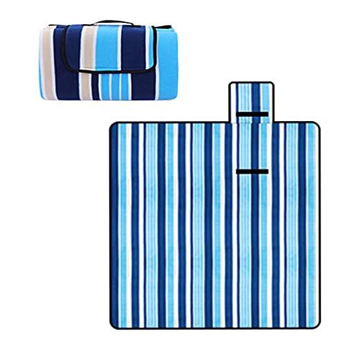 Tappetino Picnic Pile Lavabile Coperta Spiaggia con Manico Coperta Picnic con Retro Impermeabile per All'Aperto Resistente al Calore Coperta (Blue, 150×200cm)