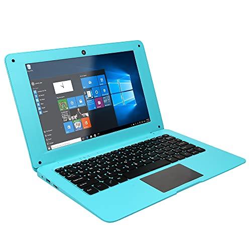 Netbook de 10, Baugger Netbook portátil de 10,1 polegadas com Windows 10 compatível com cartão TF com processador Quad Core / 2 GB + 64 GB/Wi-Fi/BT/HD Blue US Plug
