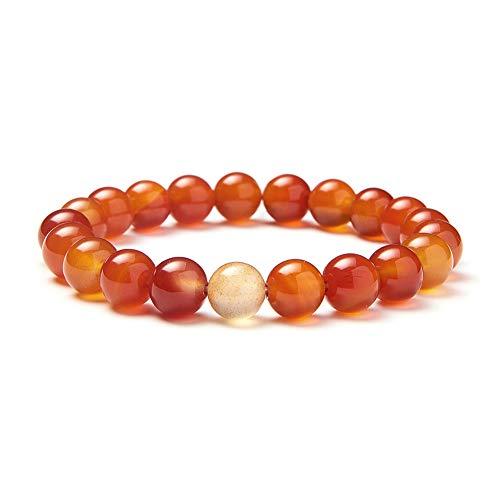 SUNNYCLUE Ágata Natural rojo ágata semi-precious Gemstone Stretch Pulsera de perlas de libre de espera y cable aproximadamente 7 'unisex