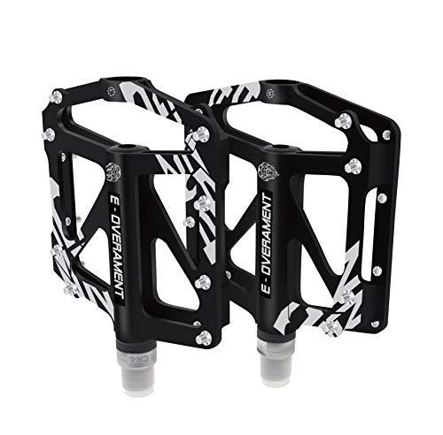 Fahrradpedale Flat MTB BMX Aluminium Ultra leicht und rutschfest - Mountainbike, Rennrad und Klapprad - Extra Tool für Pedale - zertifizierte Fahrradpedale, Schwarz