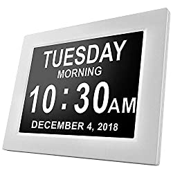 [Newest Version] American Lifetime Day Clock - Extra Large Impaired Vision Digital Clock with Battery Backup & 5 Alarm Options (Black) (White Finish)