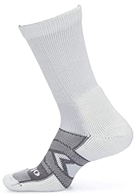 Thorlos Unisex-Adult's WCXU Work Maximum Cushion Crew Sock, White/Grey 3 Pack(Crew), Extra Large from Thorlos