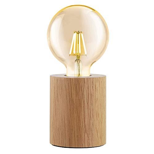 Mengjay Holz-Tischleuchte rund,Retro Tischlampe, 1 flammige Tischleuchte Industrial, Modern, Nachttischlampe aus Holz, Wohnzimmerlampe in Natur, Lampe mit Schalter, E27 Fassung(ohne Leuchtmittel)