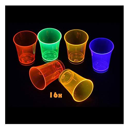 FUNS NEON STYLES 16er Set - UV-Schwarzlicht Schnapsglas / Schnaps-Becher - 50 ml im 4 Farb-Mix, Mehrwegbecher aus Kunststoff für Party, Festival oder Disko