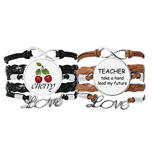 Bestchong Teacher Take A Hand Lead My Future - Pulsera de mano con correa de cuero y correa de mano para amor de cereza, juego doble