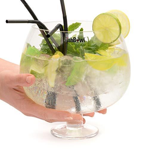 Fishbowl FISCHGLAS Kristall Glas Gin Cocktail Sharing Schüssel Party Set mit Strohhalmen und Eiswürfel, klar, 3Liter