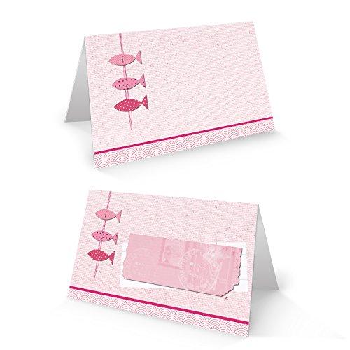 50 Stück 3 kleine rosa pink rose rot farbene Fische Tischkarten Namensschilder Platzkarten zur Taufe Kommunion Geburtstag Mädchen Namenskärtchen - mit JEDEM Stift beschreibbar!