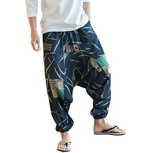 LOVELYOU Homme Sarouel Yoga Harem Pantalon Lâche ,Elastique Bouffant Bloomers Style Palazzo Capris Coloré Casual Large Taille Élastique Baggy Pants (M, Marine)