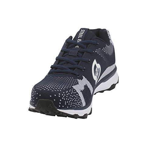 Steel Edge Trainer Style Safety Toe Shoes for Men, Solid Rubber Outsole, Slip Resistant Steel Toe Shoes Men, Synthetic Mesh Steel Toe Shoes, Athletic Men's Safety Toe Shoes Navy Blue