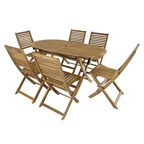 Bentley - Ensemble table ovale + 6 chaises en bois - jardin/patio