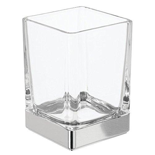 InterDesign Casilla Bicchiere bagno, Pratico contenitore bagno in vetro, trasparente