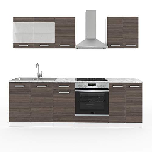 Vicco Küche Raul Küchenzeile Einbauküche 240cm Inklusive E Geräte Constructa KOCHFELD/BACKOFEN/DUNSTABZUGSHAUBE (Edelgrau)