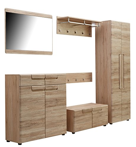 trendteam smart living Garderobe Garderobenkombination 6-teiliges Komplett Set Malea, 278 x 188 x 38 cm in Eiche San Remo Dekor mit viel Stauraum und Ablagefläche