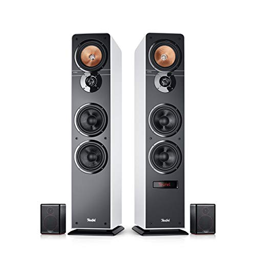 Teufel Ultima 40 Aktiv Surround 4.0-Set Weiß/Schwarz Heimkino Lautsprecher 5.1 Soundanlage Kino Raumklang Surround Subwoofer Movie High-End HiFi