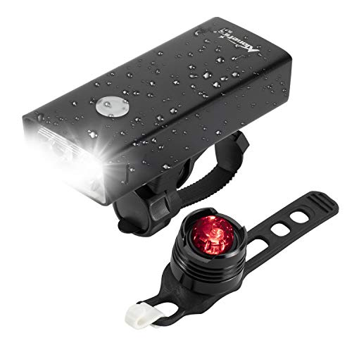 ALONEFIRE BL04 USB Rechargeable Bike Headlight Front and Back 2400 Lumen Bicycle Light Set IPX5 Waterproof with 3 Lighting Mode, Aluminum Case for Mountain Cycle Night Rider