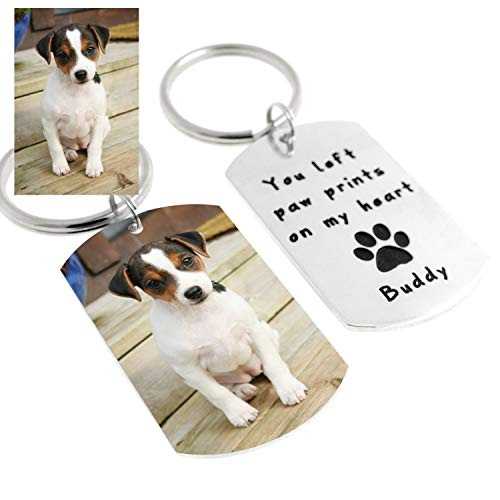 Custom Engraved Dog Photo Keychain Dog Tag Keyring∙ Personalized Dog Key Chain Personalized Pet Lover Gift Pet Memorial Gift