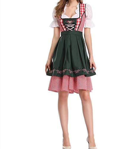 Mcaishen Damen Vintage Kleider Deutsch Oktoberfest National Style Kostüm Kleid Party Event Maid Set Eignet Sich Für Bühnenauftritt Cosplay.(36,Dark Green)