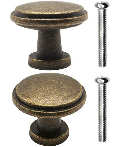 FUXXER® – 2 tiradores de muebles antiguos para cajones, diseño rústico, latón bronce, cocina, bufé, 26 x 21 mm, juego de 2 unidades, incluye tornillos
