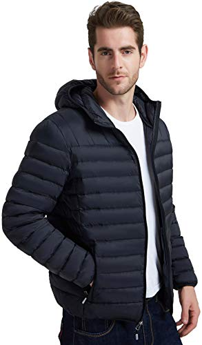Mofiz Mens Down Jacket Classic Outerwear Waterproof Windbreaker Lightweight Packable Black Size L