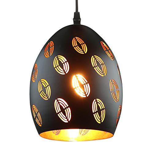Lovebay Lámpara de Techo Luz Vintage Colgante Industrial Estilo Oriental Lámparas Colgantes de Metal Negro Hueco Tener Efectos de Iluminación Románticos para Cocina Dormitorio Restaurante(No Bombilla)