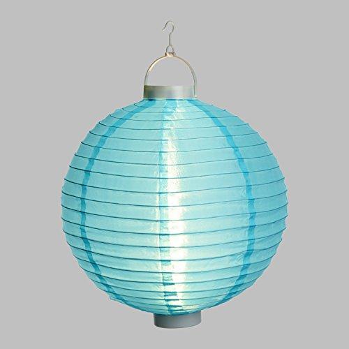 Lanterne Lumineuse Party en Tissu Bleu à Batterie, ø 30 cm, 3 LED Blanc Chaud