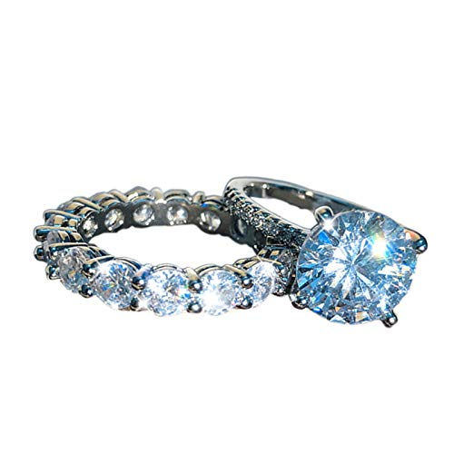 sudalv1971 2 Piezas Exquisito Diamante De Imitación con Incrustaciones De Anillo De Compromiso De Pareja Conjunto De Accesorios De Boda Regalo De San Valentín 7
