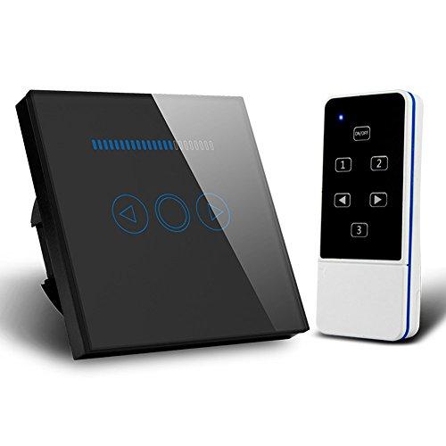 Interruptor de atenuación de luz táctil de 500 W, con panel templado y mando a distancia, Negro