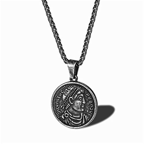 GXju- Furniture Los Hombres de Hip Hop Tarjeta Redonda de la Manera Retro Moneda Cabeza de Titanio de Acero Colgante de Monedas de Oro Colgante Collar, for los Familiares y Amigos en Fiestas
