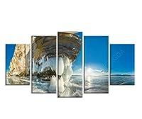 ウォールアートキャンバスロック絵画スカイ画像プリントホーム風景の装飾海のポスターリビングルームモダンなモジュラノーフレーム-1